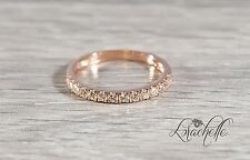 0.5 ct Thin Pave Eternity Wedding Engagement Band Ring in 14k RoseGold Stackable