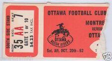 Vintage 1962 Ottawa Rough Riders CFL Ticket Stub vs. Montreal Alouettes
