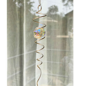 SILVER SPIRAL TAIL BALL Illusion To Wind Spinner Stainless Steel Accessory