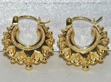 9CT GOLD VICTORIAN SPIKED GYPSY STYLE CREOLE EARRINGS