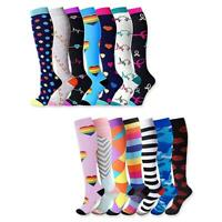 7pair Xmas Printing Unsex Compression Socks Running Sports Calf Length Stockings