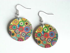Flower Wood Earrings Jewellery Colourful Bohemian Printed Wooden Circle Dangle