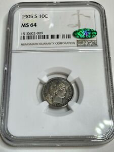 1905-S Barber Dime NGC & CAC MS-64. Attractive Natural Toning! Great Strike
