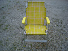 Vintage Folding Aluminum Folding Lawn Chair Yellow & White Patio Beach Camping B