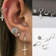 2019 Women Boho Geometric  Silver Crystal Cross Hoop Ear Stud Earrings Jewelry