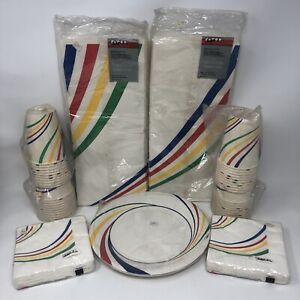 Vintage 1980s Party Supplies Decorations Retro Rainbow Stripes Gay Pride