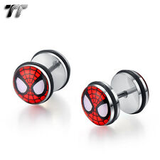 TT 10mm Clear Epoxy Stainless Steel Spiderman Fake Ear Plug Earrings (BC02) NEW