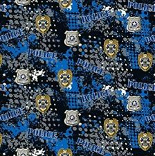POLICE 100% COTTON FABRIC - FAT QUARTER - Perfect for DIY Face Mask