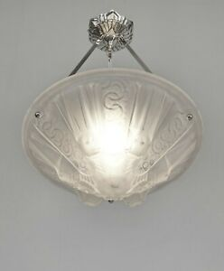 MULLER FRERES : FRENCH 1930 ART DECO PENDANT CHANDELIER  ..... lamp bronze light