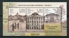 Lithuania 2017 MNH Restoration of State 100th Anniv 3v M/S Architecture Stamps