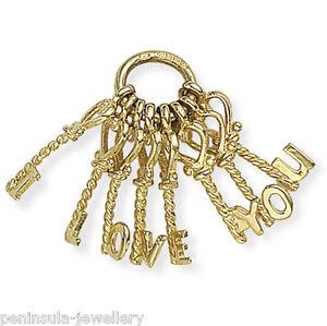 9ct Gold I Love You Keys bracelet charm, Hallmarked, Gift Boxed