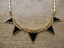 Tribal Geometric Gold Black Prism Spike Statement Jewellery Collar Necklace