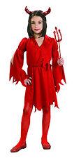 Kids Devil Girl Halloween Costume Red Dress Size Large 12-14
