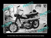 OLD HISTORIC PHOTO OF NEW YORK MOTOR SHOW 1968 GARELLI BRONCO MINI BIKE DISPLAY