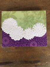 NIB Carol Wilson Passion S/10 Blank Embossed White Purple Green Floral Notecards