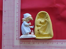 Baby Girl with birds Silicone Mold A884 Candy Chocolate Fondant Baby Shower