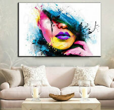 Modern Abstract Oil Painting Wall Decor Art Huge Poster - Colorful Makeup Girl