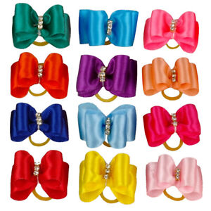 20/100pcs Cat Dog Hair Bows with Rubber Bands Pet Grooming Headdress for Yorkie
