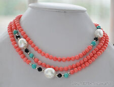 z6219 6mm round pink coral blue turquoise baroque white freshwater pearl necklac