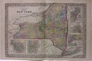 New York State map 1871 Hand Colored Mitchell  ************  ORIGINAL **********