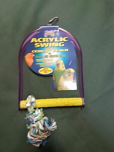 Parrot Parakeet Bird Acrylic Swing & Rope Perch ( Medium )