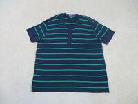 Ralph Lauren Polo Shirt Adult Extra Large Blue Green Henley Pima Cotton Men