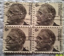 1966 U S Scott 1284 Franklin D Roosevelt Three Used Cancelled 6 Cent Stamps