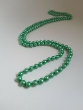 NEW ANTHROPOLOGIE LONG EMERALD GREEN CRYSTAL PEARLS NECKLACE