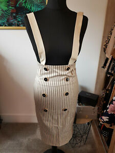 stripped beige high waisted skirt pensil with braces - small