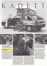 OPEL KADETT E spezielfahrzeug per disabili prospetto brochure Sheet 1987 58