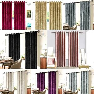 New Crushed Velvet Curtains fully lined Eyelet Ring Top Various Colours UK SIZES