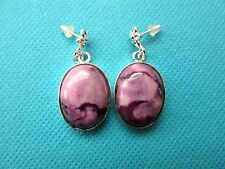 925 Silver Earrings With Natural Oval Cut Purple Turquoise Cabochons  (ear0174)