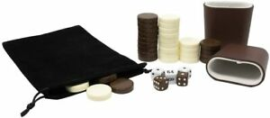 DA VINCI 1.25 inch Brown and Ivory Replacement Backgammon Pieces with 5 Dice and