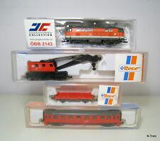 Scala N - Convoglio soccorso OBB con loco diesel 2143 e carro gru con appoggio