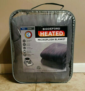 Biddeford Heated Micro-Plush Blanket 72 x 84 Full Gray NEW