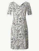 NEW RRP £21.99 Ex Marks and Spencer Linen Rich Animal Print Shift Dress
