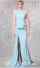 ASYMMETRICAL PEPLUM SLEEVELESS SKY BLUE JERSEY GOWN SIZE $599