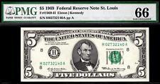 Gem 1969 $5 St. Louis Federal Reserve Note FRN 1969-H PMG 66 EPQ ((Top Pop))