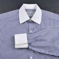 TURNBULL & ASSER Blue Whtie Striped Cotton French Cuff Luxury Dress Shirt - 15