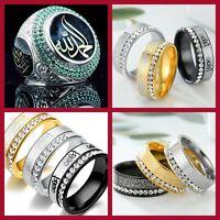 ENGRAVED ALLAH / KALIMA SHAHADA / ALI - MUSLIM ISLAMIC DIAMANTE RING MEN WOMEN