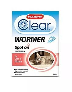 Bob Martin Clear Wormer Spot On For Cats And Kittens - 2 tubes Treats Tapeworm