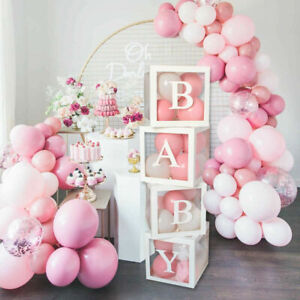 4Pcs/Set BABY Balloon Box Cube Clear Boxes Birthday Baby Shower Party Wedding