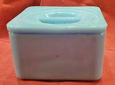 Jeannette Delphite Blue Short 4-1/4 Square Canister Refrigerator Dish w/Lid