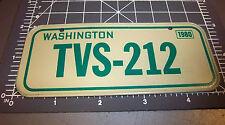 Washington Bicycle plate, TVS 212 1980 Novelty Metal Bike plate, great item