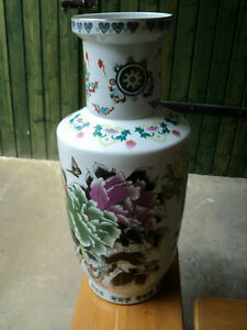 Chinesische Blumenvase 62cm handbemalt,wunderschön,einmalig,gestempelt