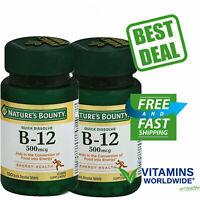 NATURE'S BOUNTY VITAMIN B-12 500mcg Heart Health Energy Metabolism 100 ea 2 PACK