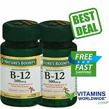 NATURE'S BOUNTY VITAMIN B-12 500mcg Heart Health Energy Metabolism 100 ea 2 PACK