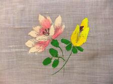 5m20 de tulle milieu XXème peint de bouquets pour rideaux voilage - largeur 0m58