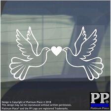 Palomas-Pegatina De Vinilo-signo gráfico de Ventana de Coche animal, pájaro, mosca, alas, corazón, blanco