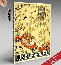 THE LURE OF THE UNDERGROUND London Tube Poster  30x21cm Home Wall Deco ART PRINT